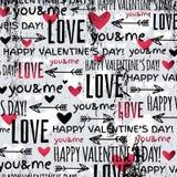 Achtergrond met rood valentijnskaarthart en wensen te Stock Afbeeldingen