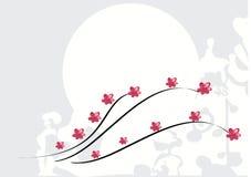 Achtergrond met roze bloemen stock illustratie