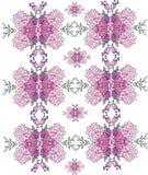 achtergrond met roze bloemen in het herhaalde patroon, symmetrisch, stock illustratie