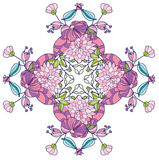 Achtergrond met roze bloemen in het patroon, Stock Foto's