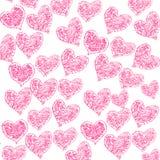 Achtergrond met roze harten Stock Foto