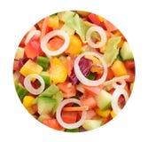 Achtergrond met salade in cirkel Stock Fotografie