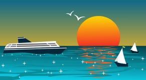 Achtergrond met schepen bij zonsondergang Stock Afbeelding