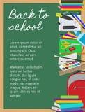 Achtergrond met schoollevering op bord Stock Foto