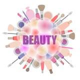 Achtergrond met schoonheidsmiddelen en schoonheidsproducten royalty-vrije illustratie