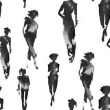 Achtergrond met silhouetten van meisjes Naadloos patroon Watercol Stock Afbeeldingen