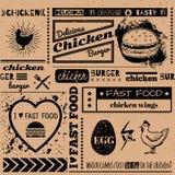 Achtergrond met snel voedselsymbolen Menupatroon Royalty-vrije Stock Afbeeldingen