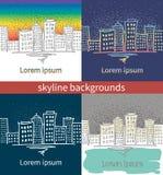 Achtergrond met stedelijke landschappen Stock Afbeeldingen