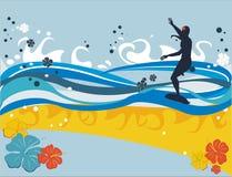 Achtergrond met surfer Stock Afbeelding