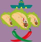 Achtergrond met taco's Stock Afbeeldingen
