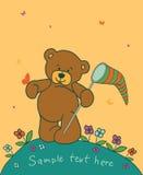 Achtergrond met teddybeer Stock Afbeelding