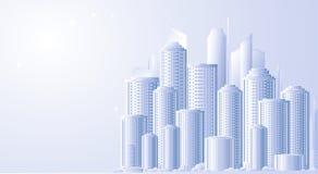 Achtergrond met toekomstig stadslandschap Royalty-vrije Stock Fotografie