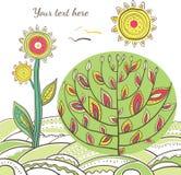 Achtergrond met tot bloei komende boom en bloem stock illustratie