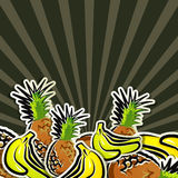Achtergrond met tropisch fruit Royalty-vrije Stock Foto