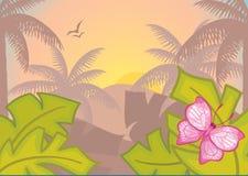 Achtergrond met tropische installaties en bomen. Ochtend. Royalty-vrije Stock Afbeeldingen