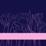 Achtergrond met tulpen en fresia royalty-vrije illustratie