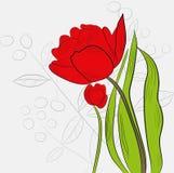Achtergrond met tulpen en installaties royalty-vrije illustratie