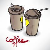 Achtergrond met twee meeneemkoffiekop met ruimte voor tekst Stock Afbeelding