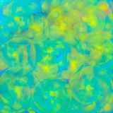 Achtergrond met vage textuur van gloeiende transparante spiralen of gekleurde gele cirkellijnen voor textiel, affiches of royalty-vrije illustratie