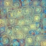 Achtergrond met vage textuur van gloeiende transparante spiralen of gekleurde gele cirkellijnen voor textiel, affiches of vector illustratie
