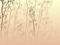 Achtergrond met veel bamboe van mist. Royalty-vrije Stock Foto's