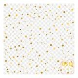 Achtergrond met verspreide gouden die confettien op transparant wordt geïsoleerd stock illustratie