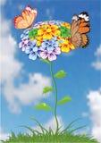 Achtergrond met vlinder.    Stock Foto's