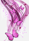 Achtergrond met vlinder Stock Foto