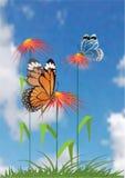 Achtergrond met vlinder. Vector. Royalty-vrije Stock Foto's