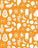 Achtergrond met voedselsilhouetten Stock Fotografie