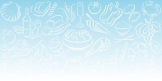 Achtergrond met voedselsymbolen Stock Afbeelding