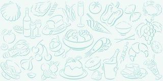 Achtergrond met voedselsymbolen Stock Foto