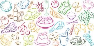 Achtergrond met voedselsymbolen Stock Fotografie