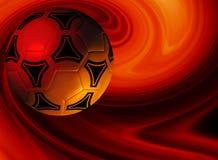 Achtergrond met voetbalbal in rode toon stock illustratie