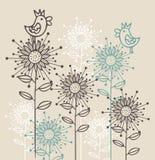 Achtergrond met vogels en bloemen Stock Fotografie