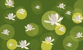 achtergrond met waterlilies Royalty-vrije Stock Afbeeldingen