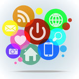 Achtergrond met Webpictogrammen op kleurenbellen Royalty-vrije Stock Foto