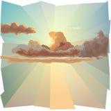 Achtergrond met wolk en van de zon stralen. Royalty-vrije Stock Foto