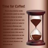 Achtergrond met zandloper met koffie Royalty-vrije Stock Afbeeldingen