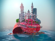 achtergrond met zeeschelp en ecologic futuristische stad Stock Afbeeldingen