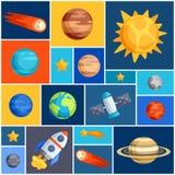Achtergrond met zonnestelsel, planeten en vector illustratie