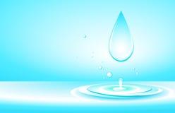 Achtergrond met zuivere waterdaling en plons Stock Foto