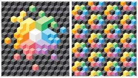 Achtergrond met zwarte en multicolored kubussen Royalty-vrije Stock Foto's