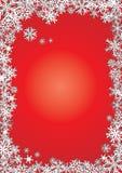 Achtergrond nieuwe jaar rode sneeuwvlokken Stock Foto's