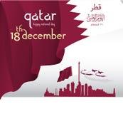 Achtergrond op de nationale de dagviering van gelegenheidsqatar Stock Afbeeldingen