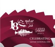 Achtergrond op de nationale de dagviering van gelegenheidsqatar Stock Fotografie