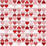 Achtergrond patroon met rode harten Royalty-vrije Stock Foto