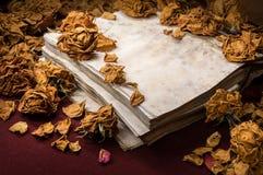 Achtergrond in retro stijl Droge die rozen op oud boek worden verspreid Stock Fotografie