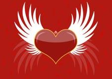Achtergrond - rood hart met witte vleugels Stock Afbeeldingen