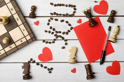 Achtergrond tegen 14 Februari: een rood hart, de woorden & x22; Ik houd van you& x22; a Stock Afbeeldingen